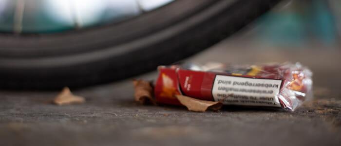 paquet de cigarette écrasé