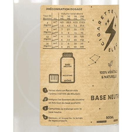 Base 500ml (PG/VG 100% d'origine naturelle) - Cigaretteelec image 2